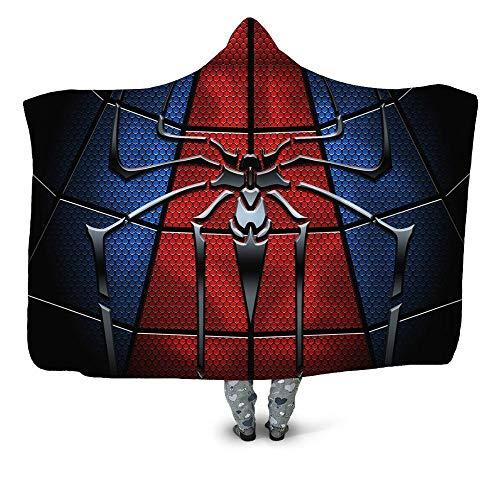 Kapuzendecke Bedruckte Kletterspinne Spiderman Sherpa Fleece Kapuzendecke Erwachsene Kinder Mikrofaser Travel Warmdecke-YU5828-150x200cm