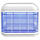 SILVANO IK-LED-16 Mata Insectos Matamosquitos eléctrico de 16 W de luz LED Azul Formas Redondeadas Blanco