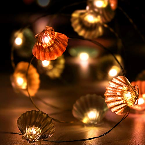 10 Fuß 40 LEDs Lichterkette, Sommer Strand Thema Dekoration, Mexiko/Mittelmeer-Stil Haus Dekor Batterie mit 12 Modi, Fernbedienung und Timer für Mädchen Jungen Schlafzimmer (Bunt Muschel)