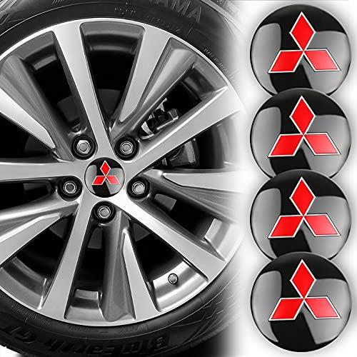 WOLHJ Tapacubos Coche Centro de Ruedas Cap Cap Badge Logo Emblem Decal Etiqueta de Ruedas Compatible con Mitsubishi Ralliart Lancer 9 10 ASX Outlander 3 Pajero Sport (tamaño : For Mitsubishi)