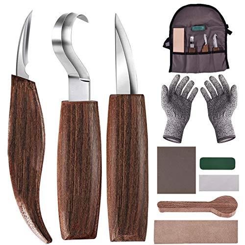 Holz-Schnitzwerkzeug Set, 10 in 1 Holzschnitzset mit Schnitzhaken Messer, Holzschnitzmesser, Schnitzmesser, Handschuhe, Schnitzmesserschärfer für Anfänger Holzbearbeitungsset…