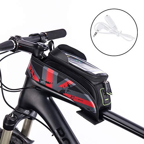 ROCKBROS Fahrrad Rahmentaschen Wasserfeste Taschen Für Bild Schirm 5.8''/6.0'' (Rot, 6.0 Zoll)