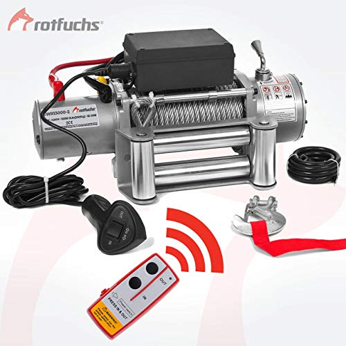 ROTFUCHS® Elektrische Seilwinde 13000lbs 5909kg 12V 6PS Offroad 4x4 Motorwinde Seilzug inkl. Funkfernbedienung Silber