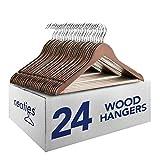 Neaties Natural and Safe Wood Hangers Original Walnut Finish, 24pk