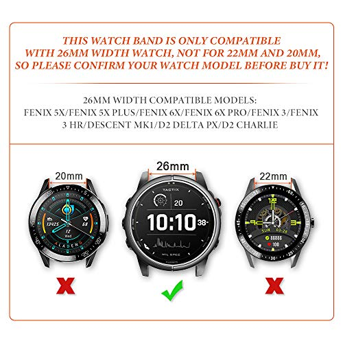 NotoCity for Fenix 5X Strap 26mm Leather Bands Quick Fit Replacement Strap for Garmin Fenix 6X/6X Pro/5X/5X Plus/3/3 HR/Descent Mk1 Smartwatch(dark brown)
