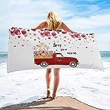Toalla de Playa de Secado rápido Personalizada con camión de Flores para el día de la Madre, Toallas de Mano absorbentes y Ligeras para baño, Hotel, Gimnasio, SPA, Piscina, natación (27 'x55, GL
