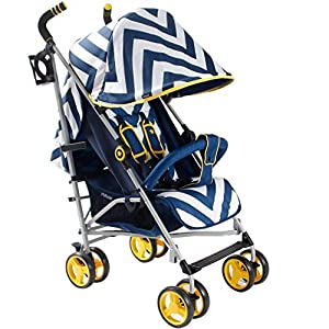My Babiie MB02 Blue Chevron Stroller   10