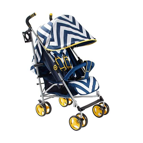 My Babiie MB02 Blue Chevron Stroller My Babiie Suitable from birth to maximum 15kg Extendable 3 position canopy Lockable swivel front wheels 1