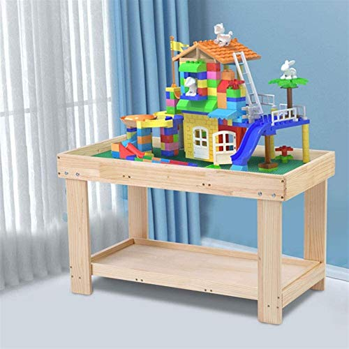 SDFDS Children's Desk And Chair Set Multi-Purpose Activity Play Table, Multifunction Children Wooden Building Blocks Toy Play Activity Table Desk For Kid Education Toys Wooden 922