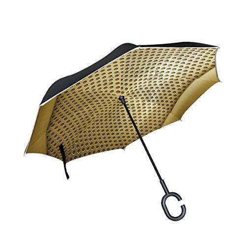 XiangHeFu Double Layer seitenverkehrt Rückseite Regenschirme Golden Metall Vorlage Faltbar Winddicht UV-Schutz Big Gerade für Auto mit C-Förmigem Henkel