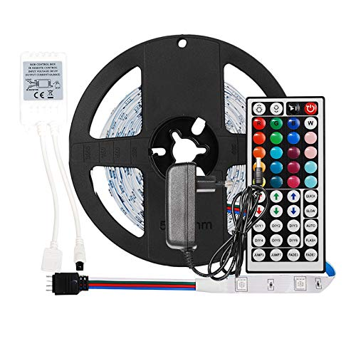 ObeyO - Tira de LED RGB de colores con mando a distancia de 44 teclas, mando a distancia de 12 V, fuente de alimentación, tiras LED regulables para interiores de Navidad, fiestas