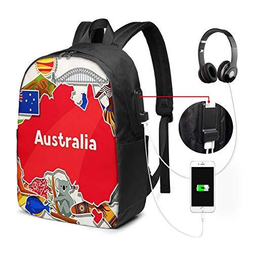Laptop Rucksack Business Rucksack für 17 Zoll Laptop, Australien Down Under Schulrucksack Mit USB Port für Arbeit Wandern Reisen Camping,für Herren Damen