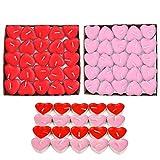 JZK 50 Rosso + 50 Rosa lumini Cera Cuore Piccoli Candele Rosse per Matrimonio San Valentino candeline Cuore in Piccoli Bicchierini di Metalli Alluminio Tea Light