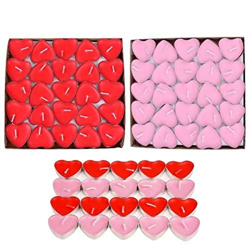 JZK 50 Rojo + 50 Rosa Velas Románticas de Corazón de Amor para Decoración de Mesa de Boda, Día de San Valentín, Aniversario