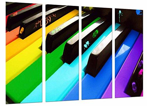 Cuadro Fotográfico Teclas Piano de Colores, Decoracion Musical Tamaño total: 131 x 62 cm XXL