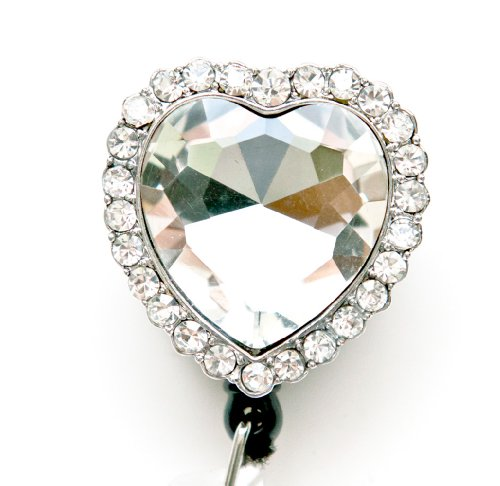 Colorful Diamond Heart Rhinestone Retractable Badge Reel / ID Badge Holder (Clear)