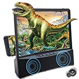 3D Curved Phone Screen Magnifier with Bluetooth Speaker, HD Movies Amplifier Projector Cell Phone Screen Enlarger with Foldable Stand for iPhone 12 11 Pro Samsung Galaxy S9 and Other Smartphones