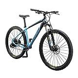 Mongoose Tyax Expert Adult Mountain Bike, 29-Inch Wheels, Tectonic T2 Aluminum Frame, Rigid Hardtail, Hydraulic Disc Brakes, Mens Small Frame, Black/Blue