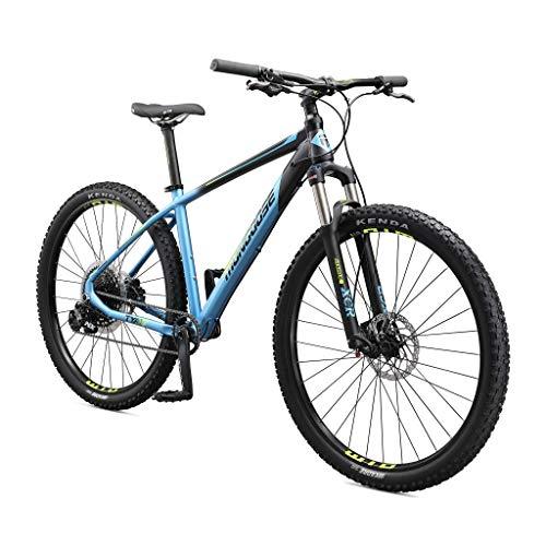 Mongoose Tyax Expert Adult Mountain Bike, 29-Inch Wheels, Tectonic T2 Aluminum Frame, Rigid Hardtail, Hydraulic Disc Brakes, Mens Medium Frame, Black/Blue