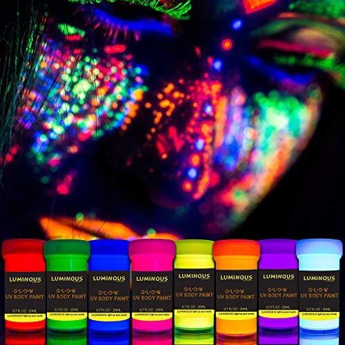 Schwarzlicht Bodypainting Farben | UV Schminke & Neon Körperfarben Set | 8 x 20 ml Leuchtfarben von LUMINOUS