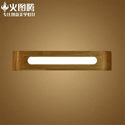 Industrial Vintage Wall Sconces Led Wall Light Wooden Staircase with Road Light Wooden Art Mirror Front