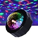 Mini Stage DJ Light, Sound Activated RGB Car Atmosphere Disco Ball Light, Portable Rotating Strobe Light for Car Interior Decoration, Birthday Party, Bar, Stage, Show Club ,Xmas USB Plug in