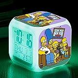 MUZILIZIYU Regalo de cumpleaños Los Simpson Color Color Color Ing-Change Alarm Reloj de Alarma LED Quad Bell Niños Regalo Creativo de los niños Pequeño Reloj de Alarma 17,9 Apto para niños