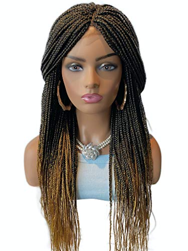 JBG SERVICES Micro Braided Wigs - Handmade Box Braiding Wigs for African American Women - Synthetic Braids With Lace Closure Finishing For Natural-Look - 22 inch OMBRE Color 1/144