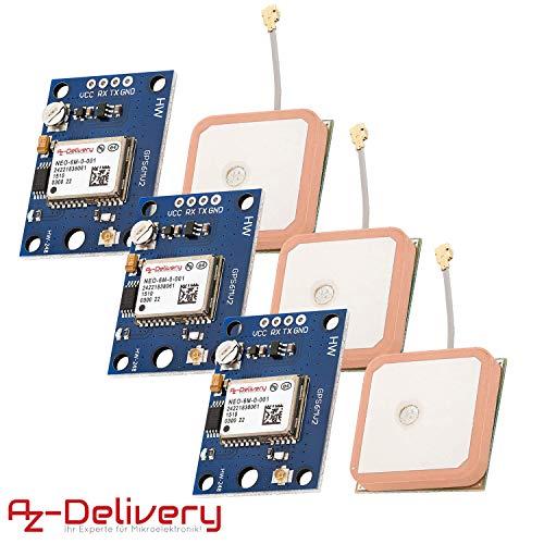 AZDelivery 3 x NEO-6M GPS Modul für Raspberry PI inklusive E-Book!