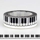 JUJIA Klebeband, Niedliche schwarze weiße Klaviertasten gemustertes Washi Tape, Klebeband Scrapbooking Supplies Craft & amp;Bastelbedarf, 5-tlg