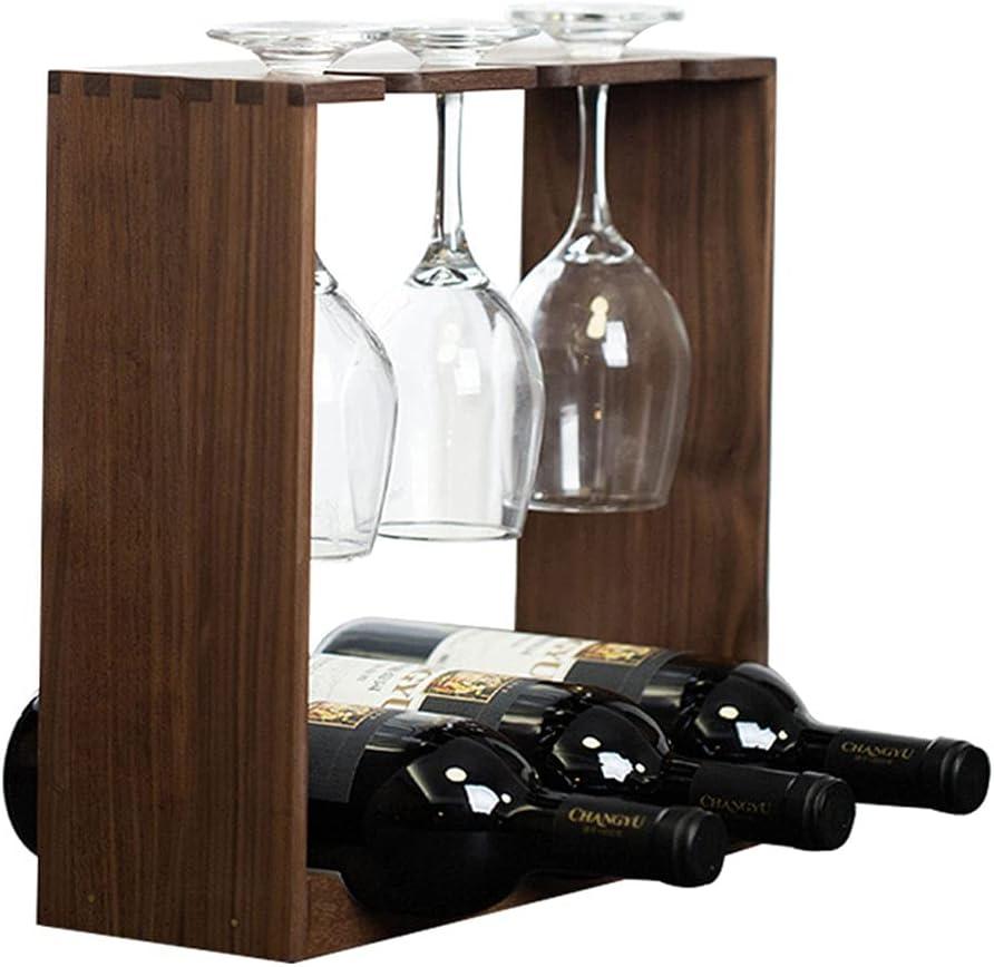 Estantería de Botelleros Madera Botellero Verticales para 3 Botellas con Soporte de Vidrio Moderno Pequeño Armarios de Vino para Vinoteca Mueble Bar Salon