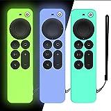 DAZUAN 3 PCS Funda de Silicona para Control Remoto Apple TV 4K 2021, Funda Protectora a Prueba de Golpes para Control Remoto Siri 6nd Gen 2021 con Cuerda Antipérdida (Glow Azul+Glow Verde+Verde Hielo)