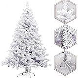 Arcoiris Árbol de Navidad Artificial Acebo, Natural Verde, Material PVC, Soporte deMetal (150CM, Arbol Navidad Blanco)