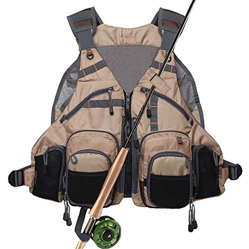 Fly Fishing Vest Pack Adjustable for Men and Women (Khaki)