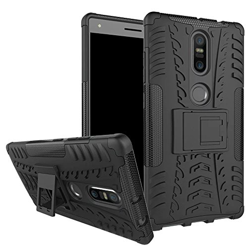 Lantier Phab 2 Plus Hülle, Hybrid Armor Shockproof Impact Protection Tough Hard Rugged Heavy Duty Combo Dual Layer Protective Hülle Cover with Kickstand für 6.4inch Lenovo Phab 2 Plus Black