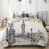 Juego de funda nórdica beige, ciudad de Londres con escena del monumento al Big Ben en estilo boceto, ciudad famosa británica, juego de cama decorativo de 3 piezas con 2 fundas de almohada, fácil cuid