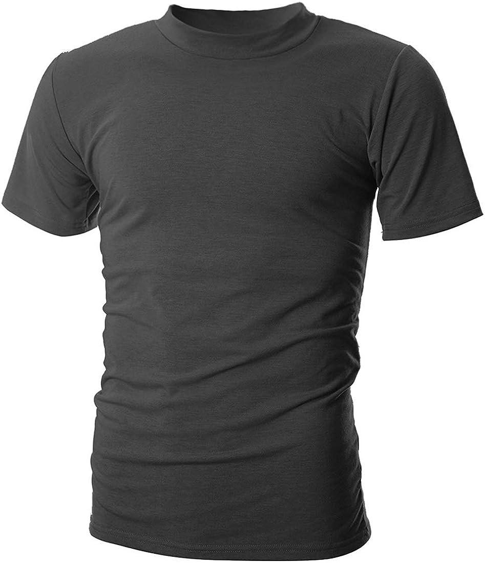 UUANG Men's Mockneck Short Sleeve T-Shirt Casual Summer Thin Pullover Basic Tops