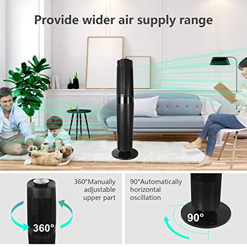 MYCARBON Tower Fan with Remote Control Oscillating Cooling Fan Floor Standing Fan Quiet for Bedroom Living Rooms Office, 90°Oscillation, 3 Speed &4 Modes, 8-Hour Timer, 45W Energy Efficient, 39inch