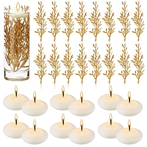 32 Pieces Artificial Flowers for Floating Candles, 12 Unscented Floating Candles for Centerpieces, 6 Inch Flower Filler Vase Fillers Filling in Floating Candles for Wedding Dinning Table… (Gold)