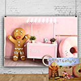 OFILA Sweet Ice Cream Cart Backdrop 7x5ft Gingerbread Man Doughnuts Kids Birthday Party Decoration Preschool Activity Background Children Shoots Baby Shower Photos Toddler Boys Video Studio Props