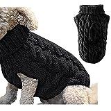 Suéter de punto de cuello alto para perro, abrigo de invierno, más cálido, para invierno, ropa de ganchillo para perros pequeños, medianos y grandes, talla XL, color negro
