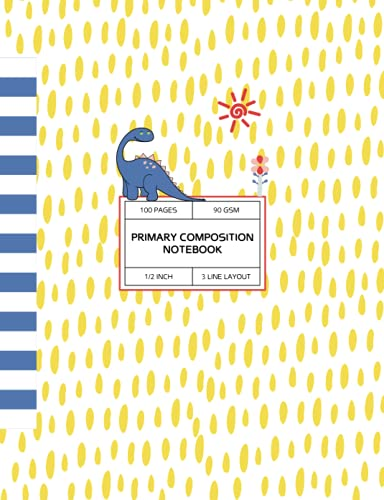 Dinosaur and Flower Primary Wide Ruled Composition Notebook: Grades K-2 & 3, 1/2 Inch Dotted Midline School Cute Exercise Workbook (Cute Back to School Notebooks)