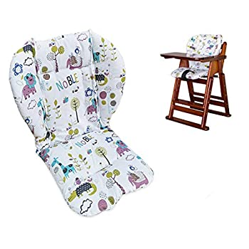 Twoworld High Chair Cushion Large Thickening Baby High Chair Seat Cushion Liner Mat Pad Cover Breathable  Animal World
