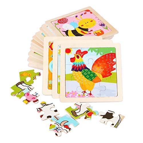 kowaku 20 Piezas Animal Jigsaw Juegos de Forma Color Niños Aprendizaje Temprano Regalos