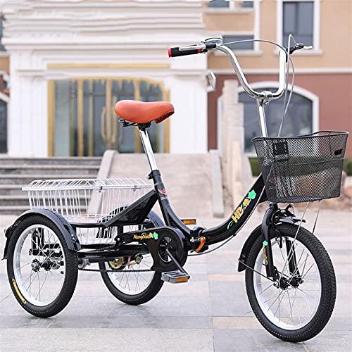 ZNND Tricycle for Adults Faltbar Dreirad for Erwachsene Trike Minibike 16-Zoll- Rad Singlespeed 3-Rad-Fahrrad Mit Lastenfahrrad Seniorenrad Großer Korb Zum Freizeit-Shopping-Übung (Color : Black)