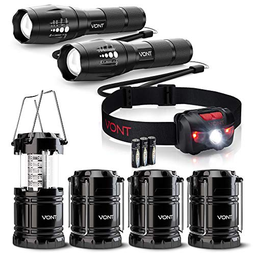 Vont Camping Lighting Bundle - 4-Pack LED Camping Lanterns + Tron Headlamp + Blaze 2 Pack Flashlight– The Ultimate Lighting Pack for The Great Outdoors & Camping Adventures