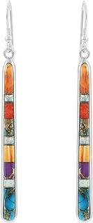 Turquoise Earrings in Sterling Silver & Genuine Gemstones (2.5