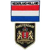 Paquete de 2 piezas de A-ONE - Parche de bandera de Holanda Amsterdam City + parche de Amsterdam, parche de bandera de Holanda, insignia de viaje con bordado
