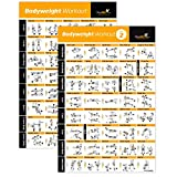 "VOL 1+2 BODYWEIGHT EXERCISE POSTER 2-PACK LAMINATED - Total Body Workout - Personal Trainer Fitness Program - Home Gym Poster - Tones Core, Abs, Legs, Gluts & Upper Body Training Routine (20' x 30"")"