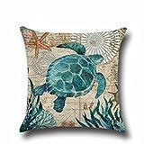 Sea Turtle Cotton Linen Square Throw Pillow Case